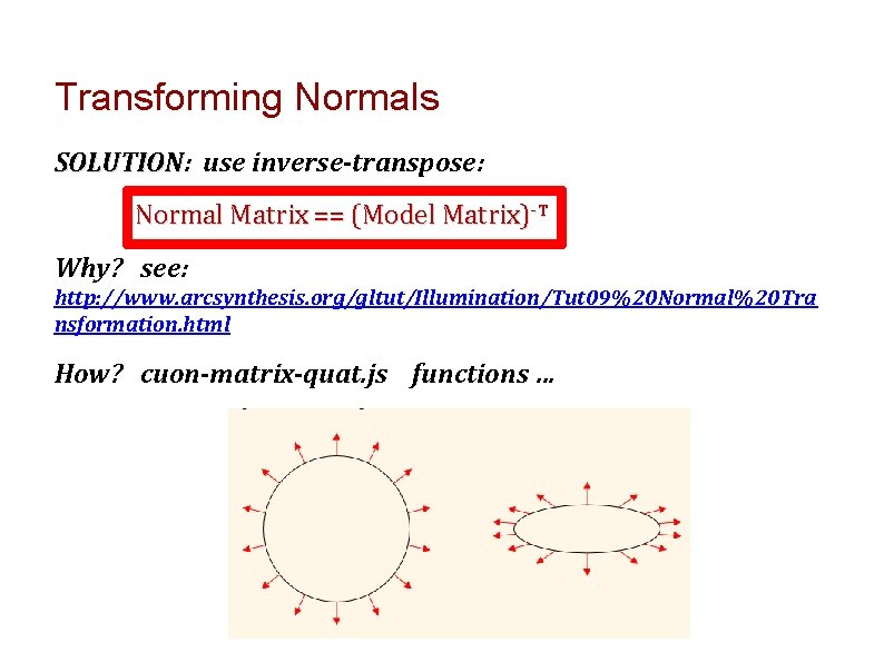 Transforming Normals SOLUTION: SOLUTION use inverse-transpose: Normal Matrix == (Model Matrix)-T Why? see: http: