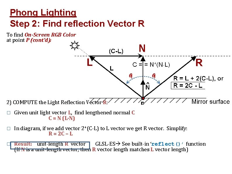 Phong Lighting Step 2: Find reflection Vector R To find On-Screen RGB Color at