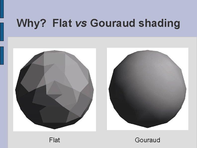 Why? Flat vs Gouraud shading Flat Gouraud