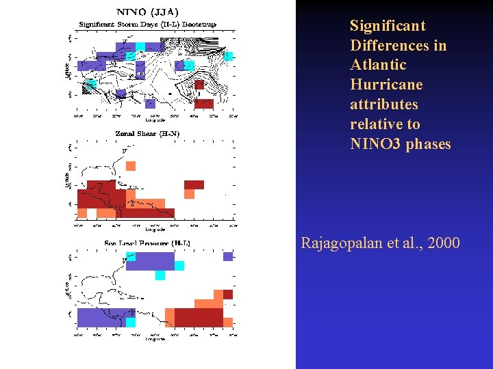 Significant Differences in Atlantic Hurricane attributes relative to NINO 3 phases Rajagopalan et al.