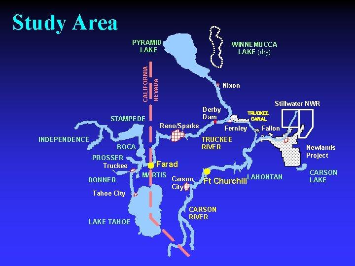 Study Area STAMPEDE WINNEMUCCA LAKE (dry) NEVADA CALIFORNIA PYRAMID LAKE Nixon Reno/Sparks INDEPENDENCE DONNER