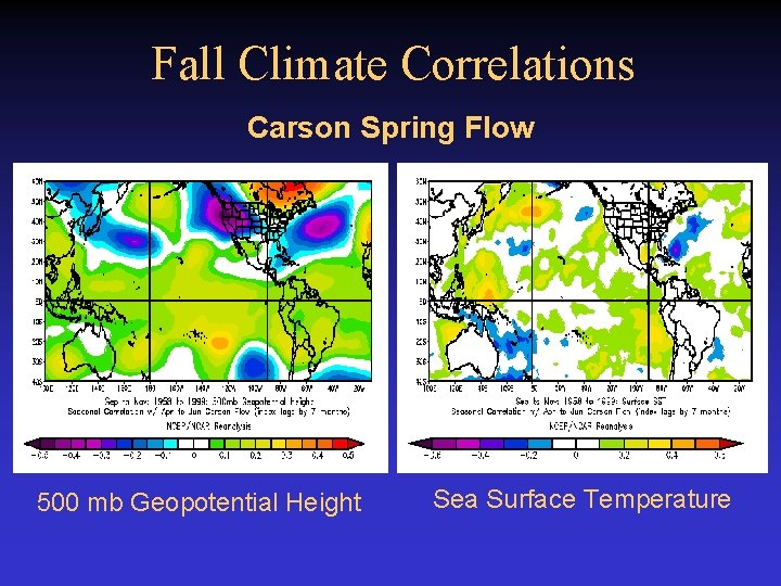 Fall Climate Correlations Carson Spring Flow 500 mb Geopotential Height Sea Surface Temperature