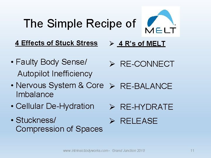 The Simple Recipe of 4 Effects of Stuck Stress Ø 4 R's of MELT