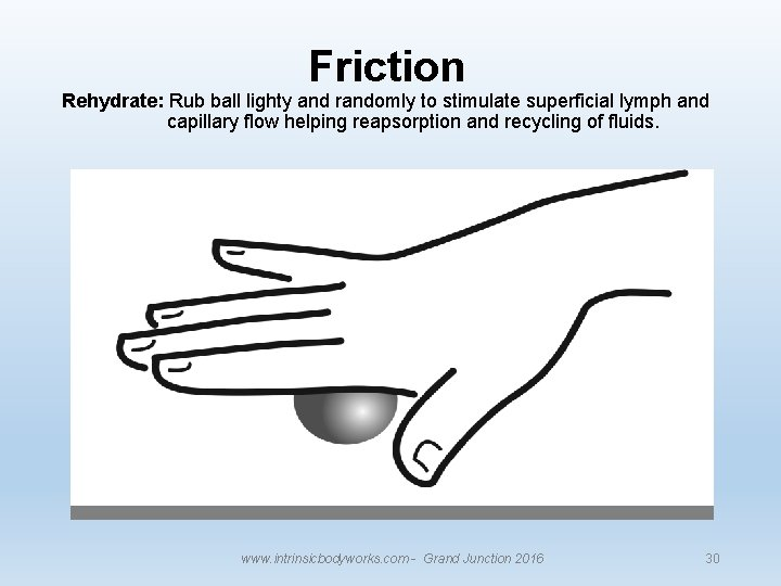 Friction Rehydrate: Rub ball lighty and randomly to stimulate superficial lymph and capillary flow