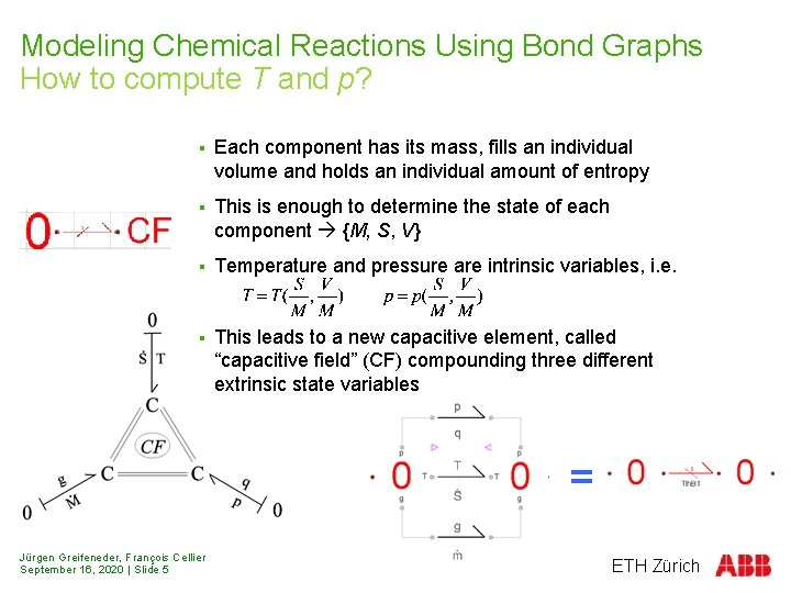 Modeling Chemical Reactions Using Bond Graphs How to compute T and p? § Each