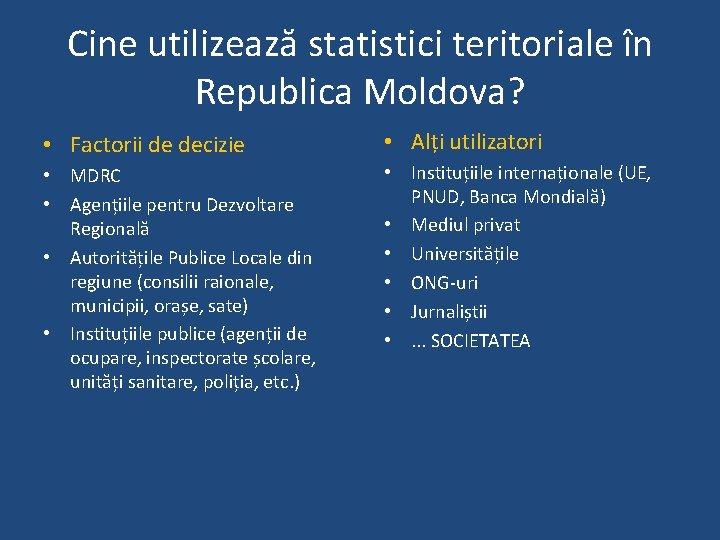 Cine utilizează statistici teritoriale în Republica Moldova? • Factorii de decizie • Alți utilizatori