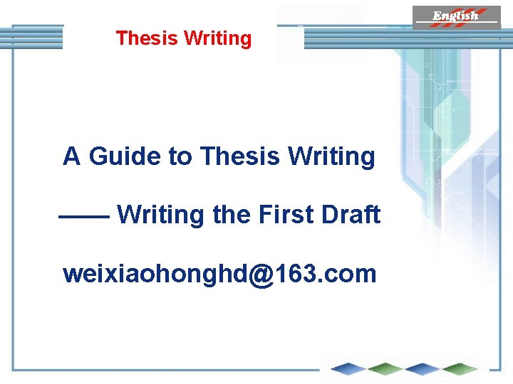 Thesis Writing A Guide to Thesis Writing —— Writing the First Draft weixiaohonghd@163. com
