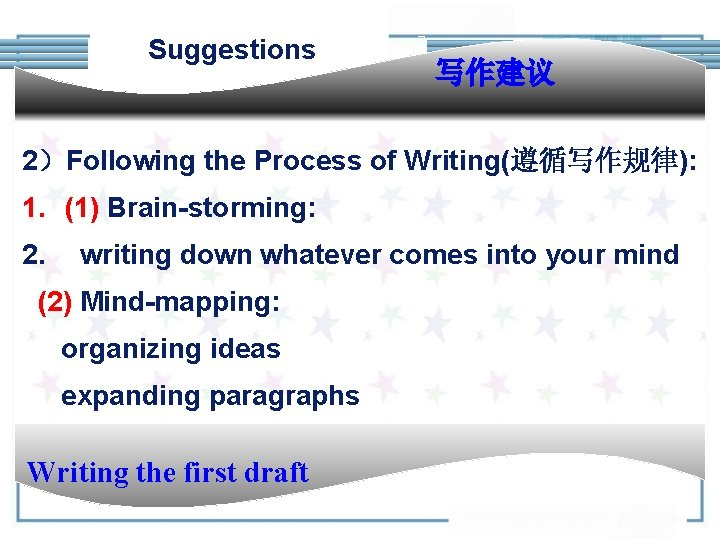 Suggestions 写作建议 2)Following the Process of Writing(遵循写作规律): 1. (1) Brain-storming: 2. writing down whatever