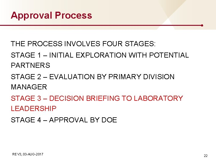 Approval Process THE PROCESS INVOLVES FOUR STAGES: STAGE 1 – INITIAL EXPLORATION WITH POTENTIAL