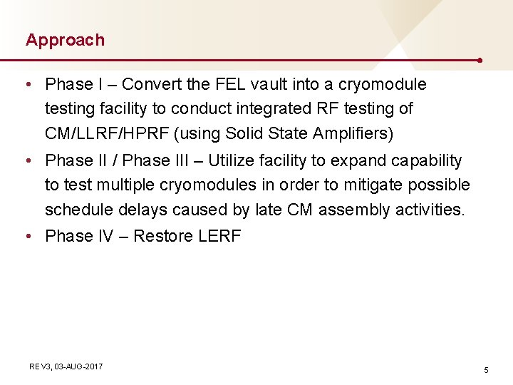 Approach • Phase I – Convert the FEL vault into a cryomodule testing facility