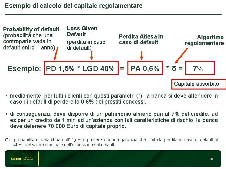 Esempio di calcolo del capitale regolamentare Probability of default (probabilità che una controparte vada