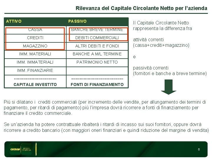 Rilevanza del Capitale Circolante Netto per l'azienda ATTIVO PASSIVO CASSA BANCHE BREVE TERMINE CREDITI
