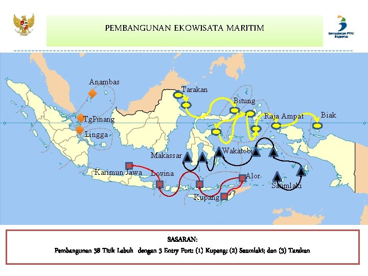 PEMBANGUNAN EKOWISATA MARITIM Anambas Tarakan Bitung Raja Ampat Tg. Pinang Lingga Wakatobi Makassar Karimun