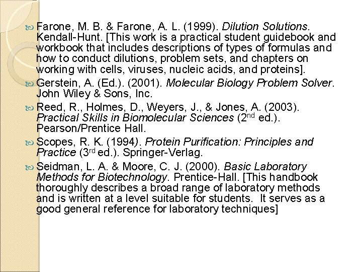 Farone, M. B. & Farone, A. L. (1999). Dilution Solutions. Kendall-Hunt. [This work