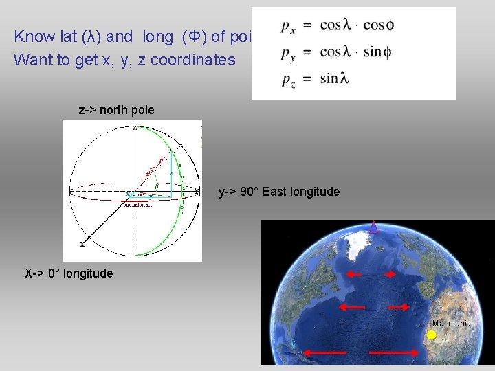 Know lat (λ) and long (Φ) of point Want to get x, y, z