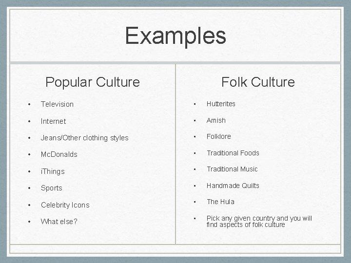Examples Popular Culture Folk Culture • Television • Hutterites • Internet • Amish •