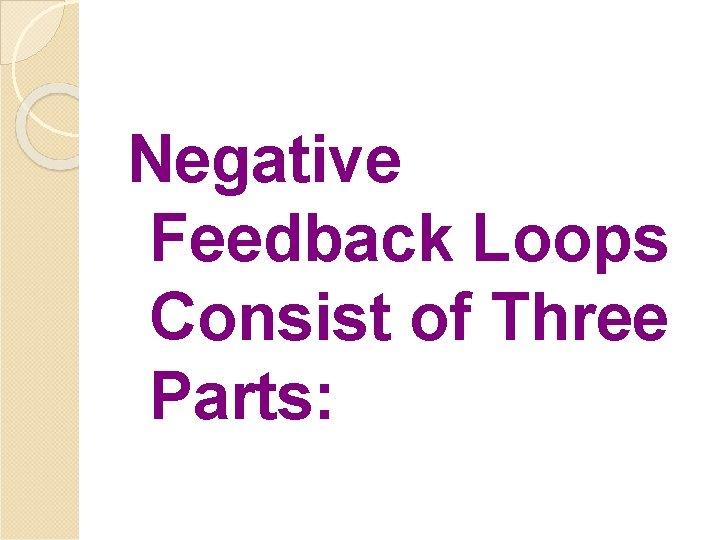Negative Feedback Loops Consist of Three Parts: