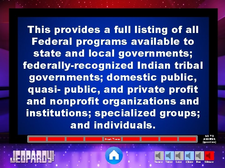 This provides a full listing of all Federal programs available to state and local