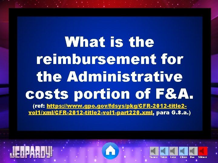 What is the reimbursement for the Administrative costs portion of F&A. (ref: https: //www.