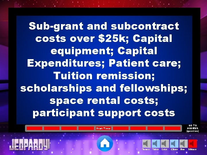 Sub-grant and subcontract costs over $25 k; Capital equipment; Capital Expenditures; Patient care; Tuition