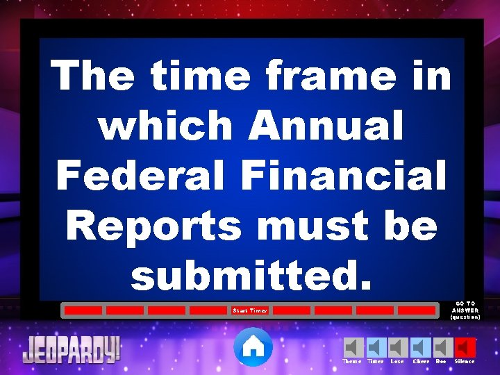 The time frame in which Annual Federal Financial Reports must be submitted. GO TO