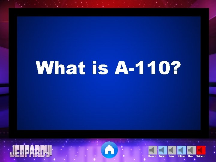 What is A-110? Theme Timer Lose Cheer Boo Silence