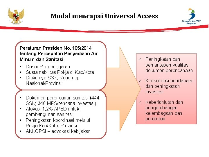 Modal mencapai Universal Access Peraturan Presiden No. 185/2014 tentang Percepatan Penyediaan Air Minum dan