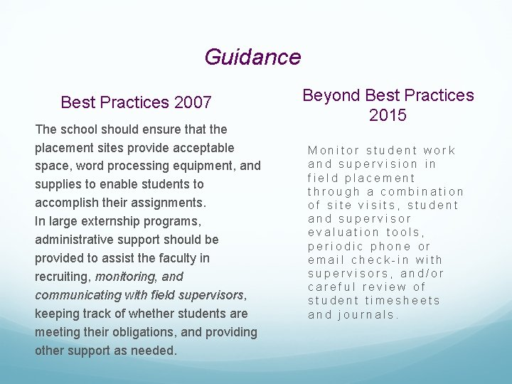 Guidance Best Practices 2007 The school should ensure that the placement sites provide acceptable