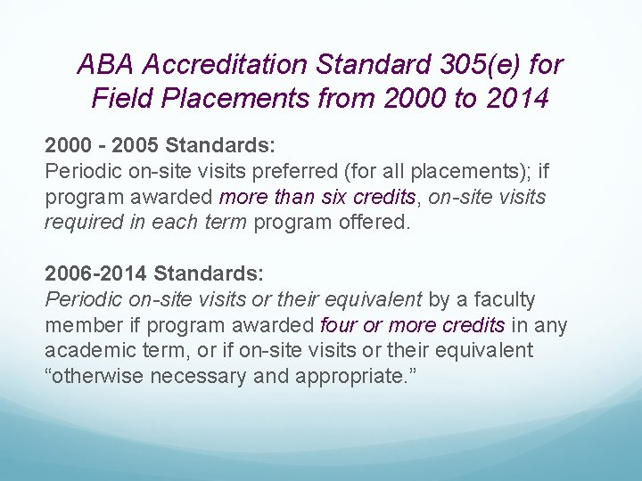 ABA Accreditation Standard 305(e) for Field Placements from 2000 to 2014 2000 - 2005