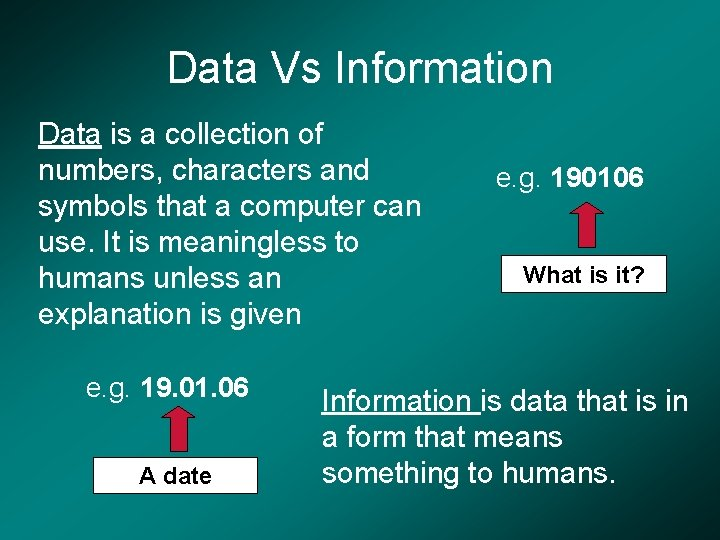Data Vs Information Data is a collection of numbers, characters and symbols that a