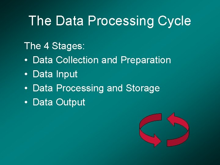 The Data Processing Cycle The 4 Stages: • Data Collection and Preparation • Data