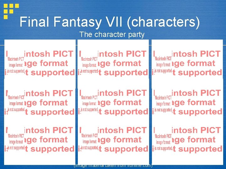 Final Fantasy VII (characters) The character party (image material taken from ffonline. com)