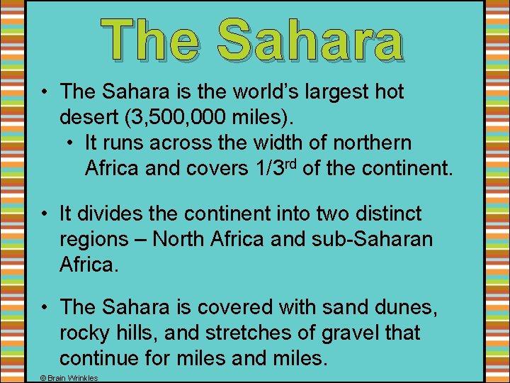 The Sahara • The Sahara is the world's largest hot desert (3, 500, 000