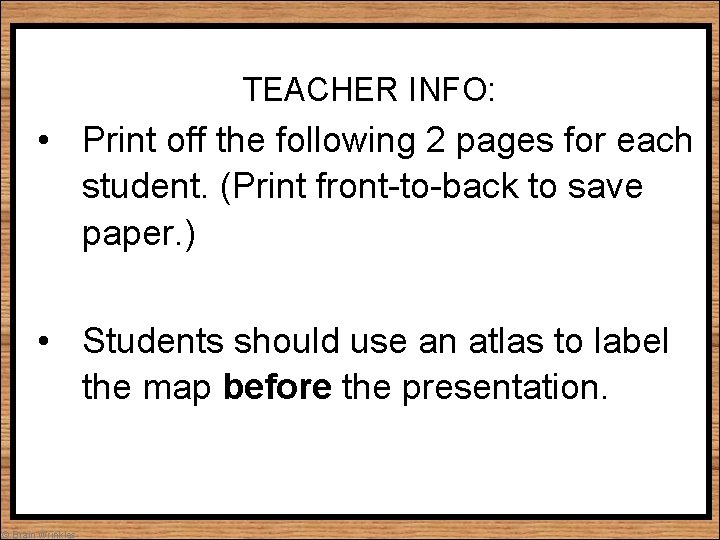 TEACHER INFO: • Print off the following 2 pages for each student. (Print front-to-back