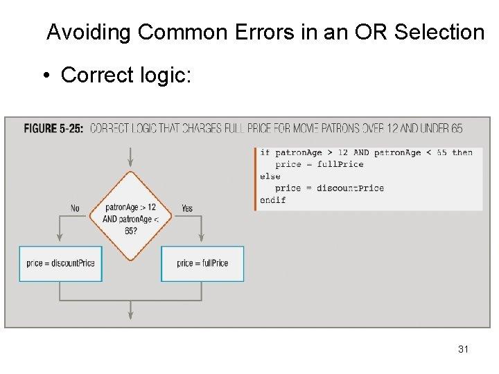 Avoiding Common Errors in an OR Selection • Correct logic: 31