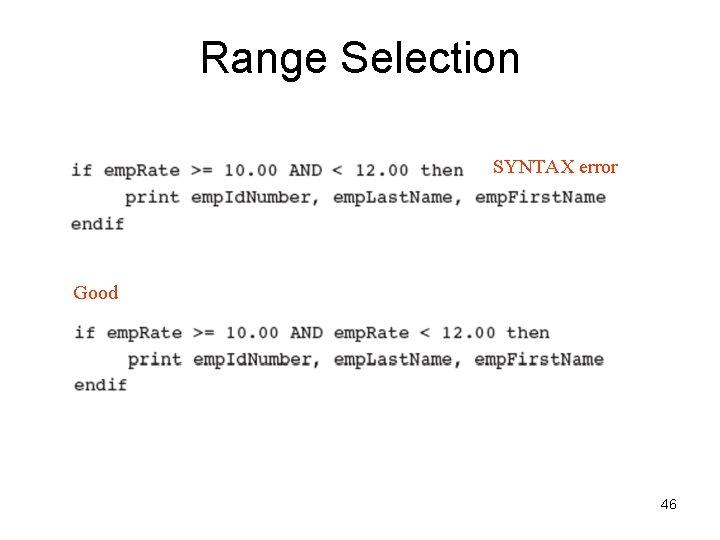 Range Selection SYNTAX error Good 46