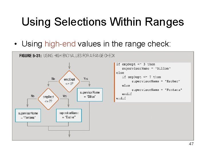 Using Selections Within Ranges • Using high-end values in the range check: 47