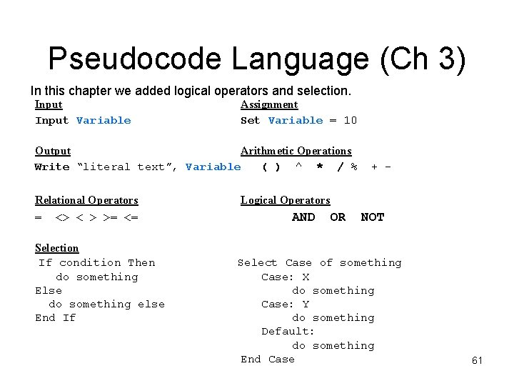Pseudocode Language (Ch 3) In this chapter we added logical operators and selection. Input