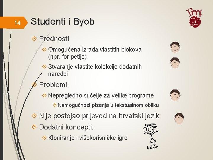 14 Studenti i Byob Prednosti Omogućena izrada vlastitih blokova (npr. for petlje) Stvaranje vlastite