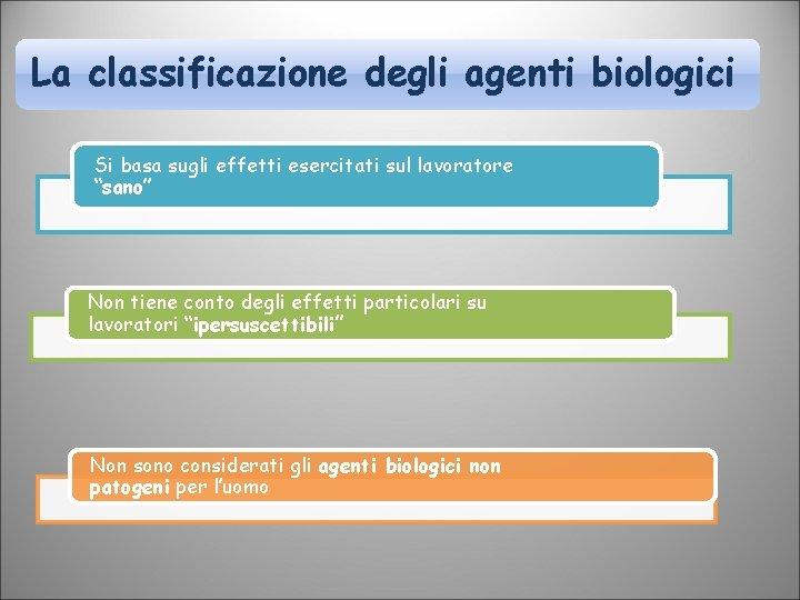 """La classificazione degli agenti biologici Si basa sugli effetti esercitati sul lavoratore """"sano"""" Non"""