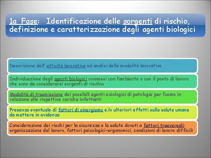 1 a Fase: Identificazione delle sorgenti di rischio, definizione e caratterizzazione degli agenti biologici