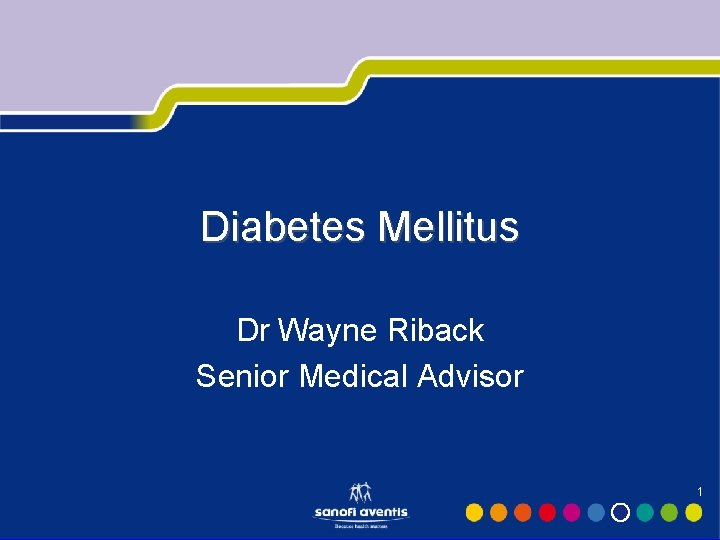 Diabetes Mellitus Dr Wayne Riback Senior Medical Advisor 1