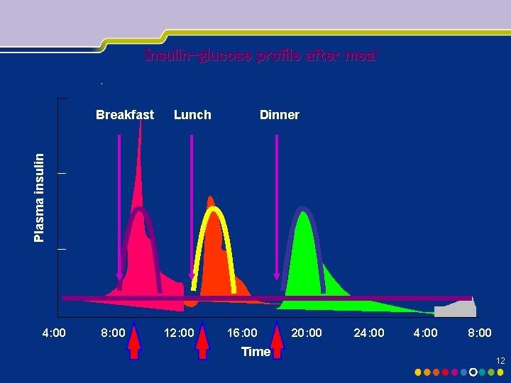 Insulin-glucose profile after meal Lunch Dinner Plasma insulin Breakfast 4: 00 8: 00 12: