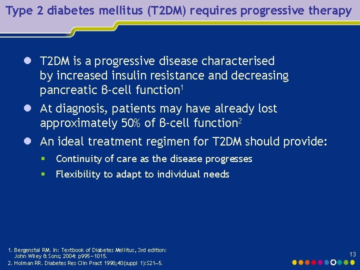 Type 2 diabetes mellitus (T 2 DM) requires progressive therapy l T 2 DM