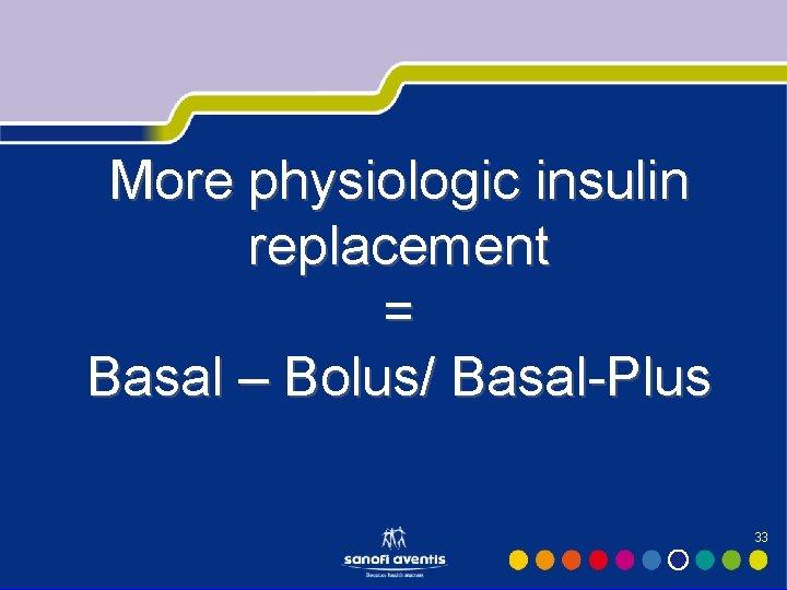 More physiologic insulin replacement = Basal – Bolus/ Basal-Plus 33