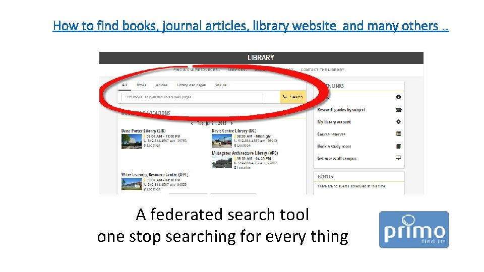 How to find books, journal articles, library website and many others. . A federated