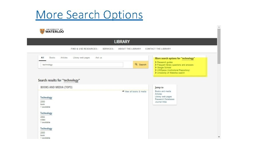 More Search Options