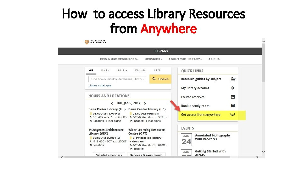 How to access Library Resources from Anywhere