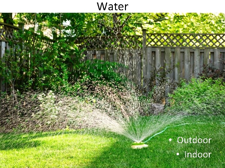 Water • Outdoor • Indoor