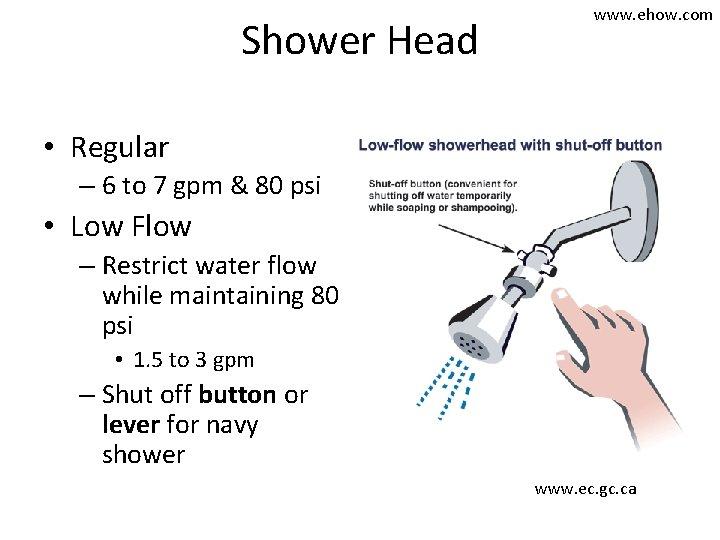 Shower Head www. ehow. com • Regular – 6 to 7 gpm & 80